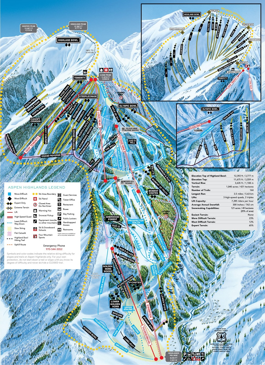 Aspen Highlands trail map advanced expert mountain at Aspen Snowmass Resort Colorado USA