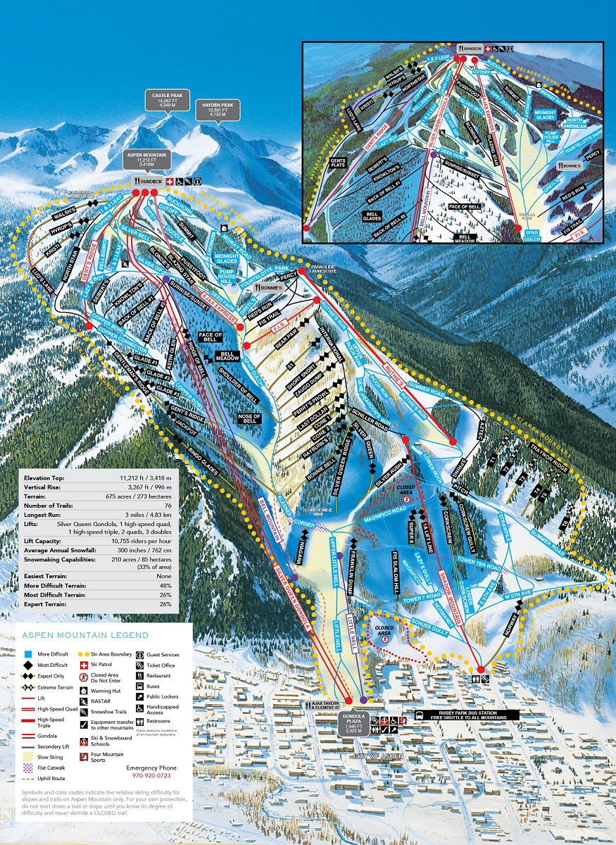 Aspen Mountain trail map of Ajax at Aspen Snowmass ski resort