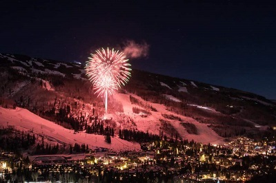 Fireworks celebrating Christmas holidays in Vail ski resort USA