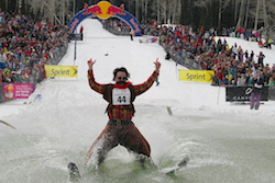 Pond skimming cowboy!