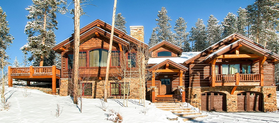 Rustic Timber Lodge Breckenridge luxury 4 bedroom home chalet USA