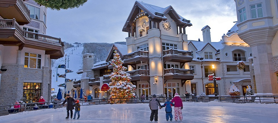 Skiing holidays Vail USA in Lionshead Village Vail ski resort Colorado USA