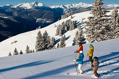 Skiing the Back Bowls of Vail ski resort America