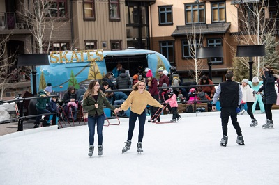 Snowmass base village ice rink skating for all the family