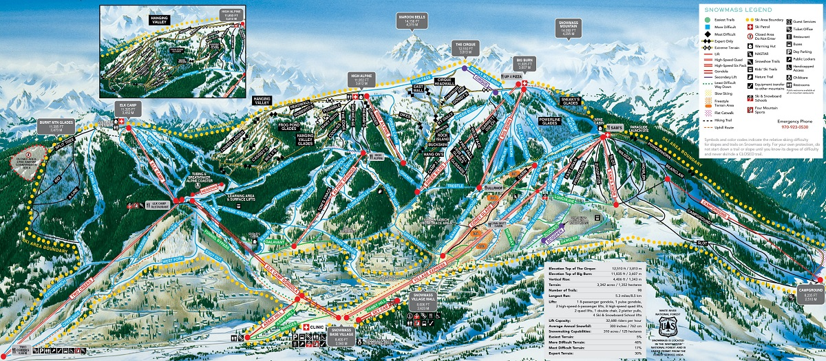 Snowmass trail map showing ski runs at Snowmass ski resort
