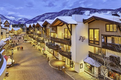 Vail Village in Vail ski resort with iconic clocktower USA