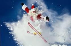 Look out for skiing Father Christmas / Santa Claus on Christmas Day