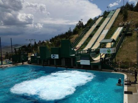 Utahs Olympic Park at Park City aerials into pool